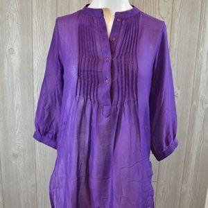 Sheer Purple Dress Cover Up Melange Small